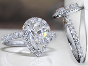2.10 Ct. Halo Pear Cut Diamond Ring & Matching Band D Color VS2 GIA Certified