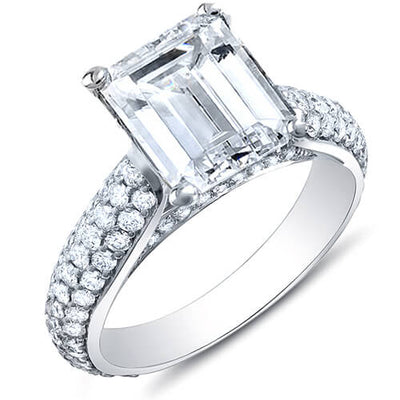 3.36 Ct. Emerald Cut w/ Round Cut Micro Pave Diamond Engagement Ring H,VS2 GIA