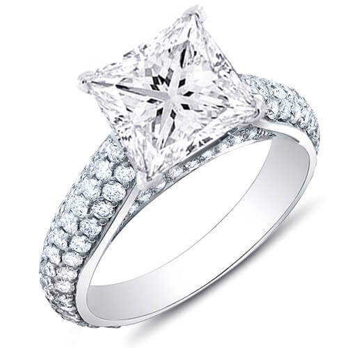 3.38 Ct. Princess Cut w/ Round Cut Micro Pave Diamond Engagement Ring H,SI1 GIA