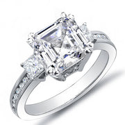 2.11 Ct. Asscher Cut w/ Princess & Round Cut Diamond Engagement Ring I,VS2 GIA