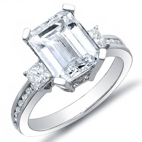 2.56 Ct. Emerald Cut w/ Princess & Round Cut Diamond Engagement Ring I,VS2 GIA