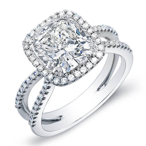 1.97 Ct. Cushion Cut Halo Round Cut Pave Diamond Engagement Ring F,VS1 GIA
