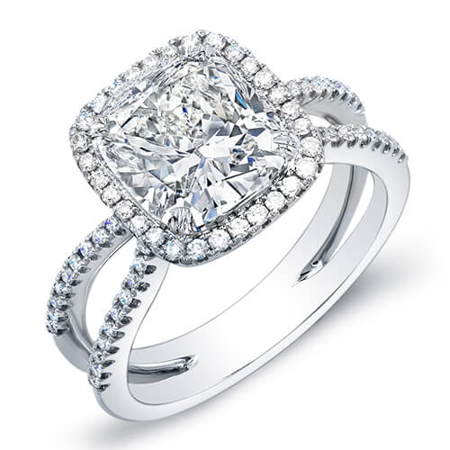 4.35 Ct. Cushion Cut Halo Round Cut Pave Diamond Engagement Ring I,VVS1 GIA