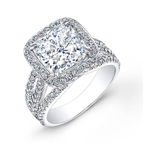 4.70 Ct. Halo Cushion Cut French & Micro Pave Diamond Engagement Ring GIA I,VVS1