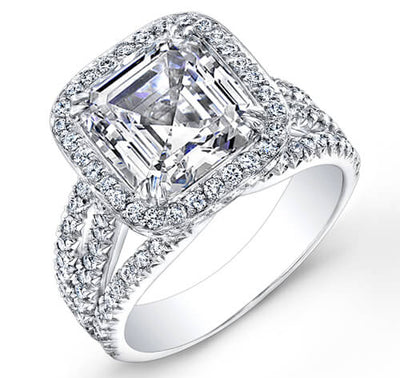 3.31 Ct. Halo Asscher Cut French & Micro Pave Diamond Engagement Ring GIA H,SI1