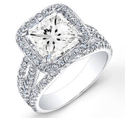 2.80 Ct. Halo Princess Cut French & Micro Pave Diamond Engagement Ring GIA I,VS1