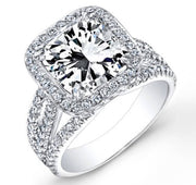 3.35 Ct. Halo Radiant Cut French & Micro Pave Diamond Engagement Ring GIA E,VS2
