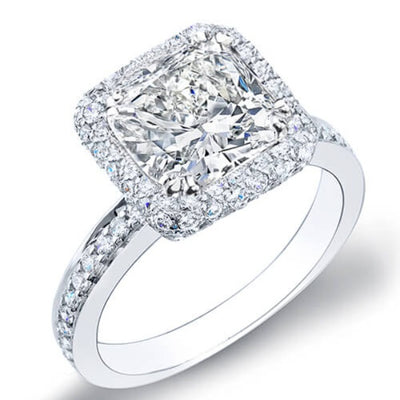 4.48 Ct. Cushion Cut Halo Micro Pave Diamond Engagement Ring GIA I,VVS1