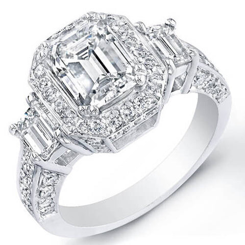 3.38 Ct. Emerald Cut w/ Round Cut Diamond Engagement Ring GIA G,VS1