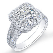 2.82 Ct. Cushion Cut Pave Diamond Halo Engagement Ring I,VS1 GRA