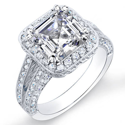 2.11 Ct. Asscher Cut Pave Diamond Halo Engagement Ring H,VS2 GIA