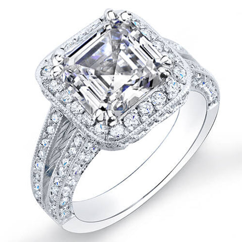 2.85 Ct. Asscher Cut Pave Diamond Halo Engagement Ring I,VS2 GIA