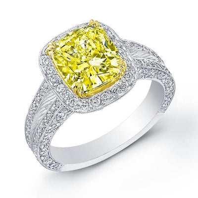 3.61 Ct. Canary Fancy Yellow Diamond Pave Halo Engagement Ring SI1, GIA
