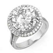 3.33 Ct. Round Brilliant Cut Pave Halo Diamond Engagement Ring G,SI1 GIA