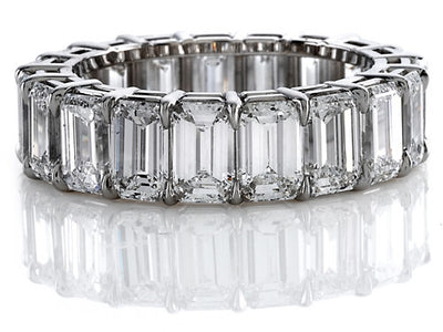 8.00 Ct. Emerald Cut Diamond Eternity Ring I-J, VS2 Shared Prong
