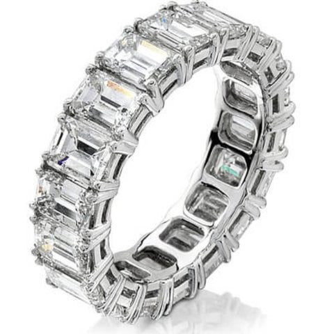 7.00 Ct. Emerald Cut Diamond Eternity Ring F-G, VS1 Shared Prong