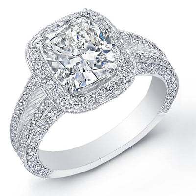 2.19 Ct. Cushion Cut Micro Pave Diamond Engagement Ring E,SI1 GIA
