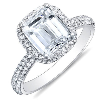 3.04 Ct. Emerald Cut Micro Pave Halo Round Diamond Engagement Ring H,VS2 GIA