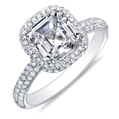 2.29 Ct. Asscher Cut Micro Pave Halo Round Diamond Engagement Ring I,VS2 GIA
