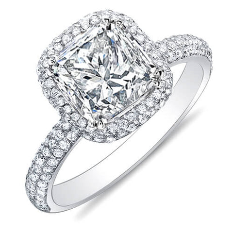 3.05 Ct. Princess Cut Micro Pave Halo Round Diamond Engagement Ring G,SI1 GIA