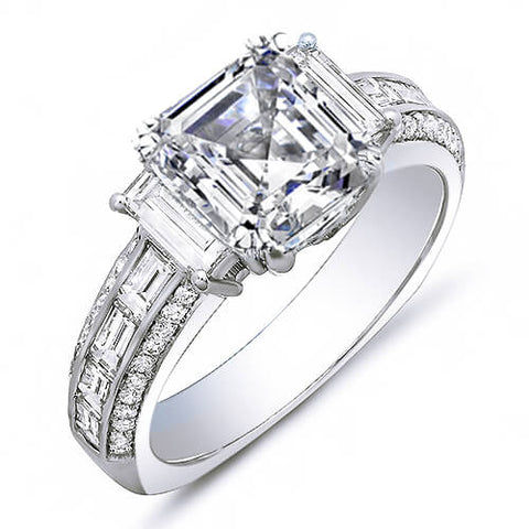 2.21 Ct. Asscher Cut, Baguette & Round Diamond Engagement Ring G,VVS2 GIA