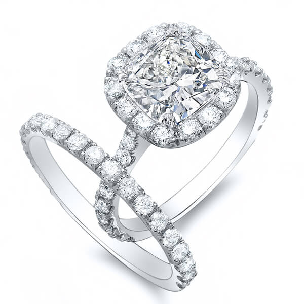 2.13 Ct. Cushion Cut Round Halo Diamond Bridal Ring Set GIA F,VS1