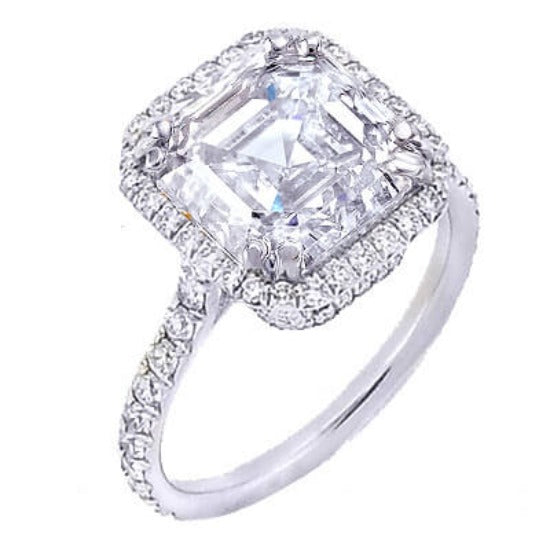 1.91 Ct. U-Setting Asscher Cut Halo Diamond Engagement Ring F,VVS1 GIA