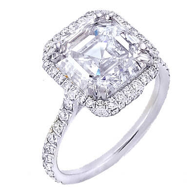 2.65 Ct. U-Setting Asscher Cut Halo Diamond Engagement Ring I,VS2 GIA