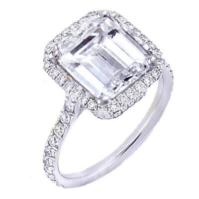 1.91 Ct. U-Setting Emerald Cut Halo Diamond Engagement Ring F,VS2 GIA