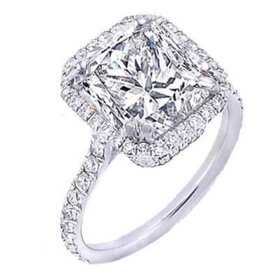 1.60 Ct. U-Setting Princess Cut Halo Diamond Engagement Ring F,VS1 GIA