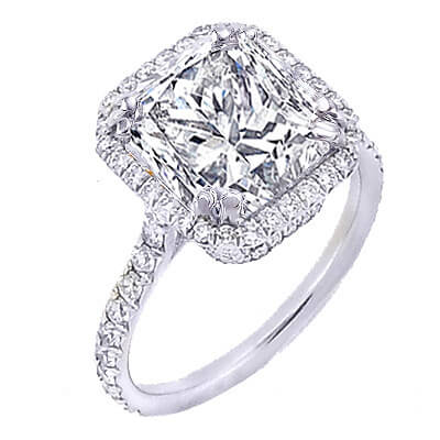 2.90 Ct. U-Setting Princess Cut Halo Diamond Engagement Ring E,VS1 GIA