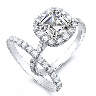 2.12 Ct. Asscher Cut Round Halo Diamond Bridal Ring Set GIA F,VVS1