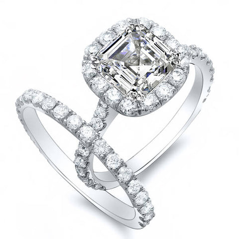 Halo Asscher Cut Diamond Engagement Set