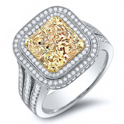 4.56 Ct. Dual Halo Canary Fancy Yellow Cushion Cut Diamond Engagement Ring GIA