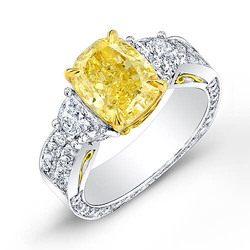 4.91 Ct. GIA Certified Fancy INTENSE Yellow Cushion Cut Diamond Engagement Ring With Half Moons