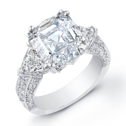 3.25 Asscher Cut Diamond Engagement Ring W/Trillion Cut Side Stones & Round Micro Pave Setting G,VVS2 GIA