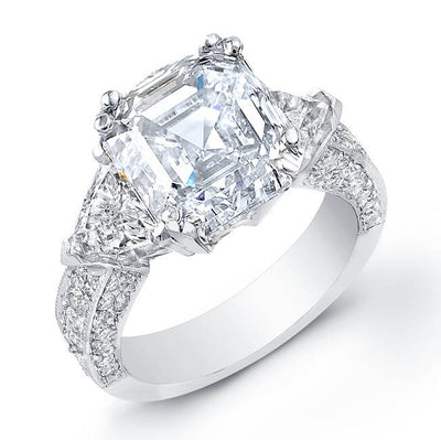 6.31 Ct. Asscher Cut Diamond Engagement Ring W/Trillion Cut Side Stones & Round Micro Pave Setting G,VS2 EGL