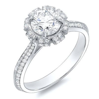 3.82 Ct. Round Brilliant Cut Floral Pave Diamond Engagement Ring I,SI2 GIA