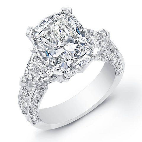4.24 Ct. Cushion Cut Diamond Engagement Ring W/Trillion Cut Side Stones & Round Micro Pave Setting I, VS1 EGL