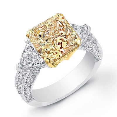 2.04 Ct. Fancy Canary Yellow  Radiant Cut Diamond Engagement Ring W/Trillion Cut Side Stones & Round Micro Pave Setting