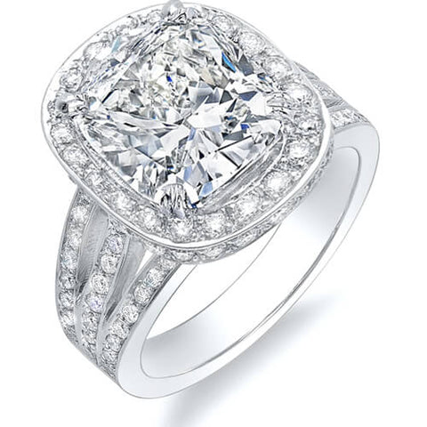 4.22 Ct. Cushion Cut Halo Split Shank Diamond Engagement Ring I,VS1 GIA