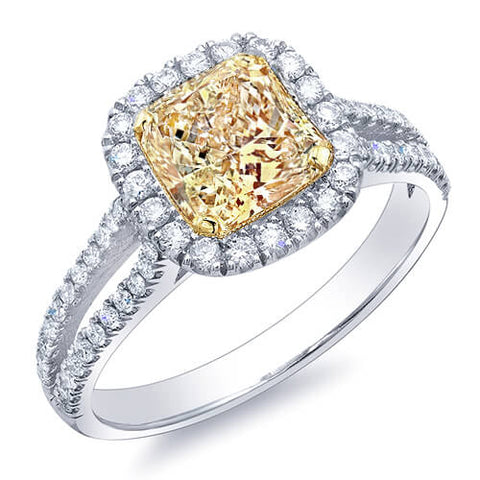 1.47 Ct. Canary Fancy Yellow Radiant Cut Diamond Engagement Ring