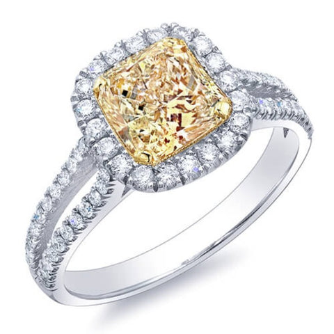 Canary Fancy Yellow Radiant Cut Diamond Engagement Ring
