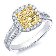 2.16 Ct. Canary Fancy Yellow Cushion Cut Diamond Engagement Ring GIA SI2