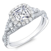 1.60 Ct. Asscher Cut Cross Over Shank Diamond Engagement Ring GIA H,VVS1
