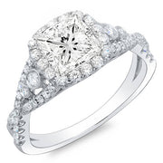 2.61 Ct. Princess Cut Cross Over Shank Diamond Engagement Ring G,SI1 GIA