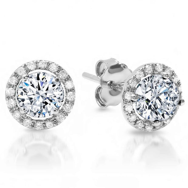 1.90 Ct. Halo Round Brilliant Cut Diamond Stud Earrings