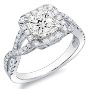 3.58 Ct. Princess Cut Crisscross Shank Diamond Engagement Ring J,VS1 GRA