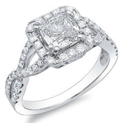 1.76 Ct. Cushion Cut Crisscross Shank Diamond Engagement Ring H,VS1 GIA