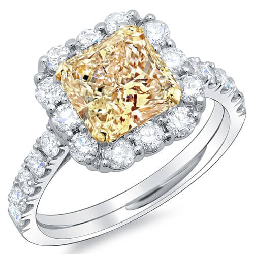 2.02 Ct. Radiant Cut Canary Fancy Yellow Diamond Engagement Ring GIA VS1